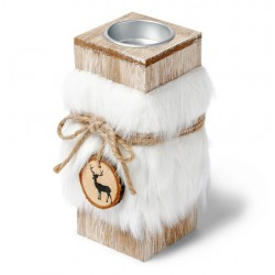 Bougeoir bois fourrure blanche