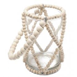 Photophore Verre Perle bois ivoire