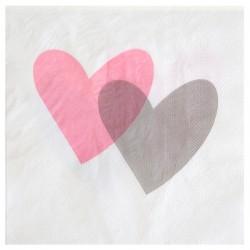 20 Serviettes Coeurs