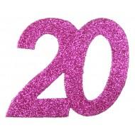6 Confettis pailleté Anniversaire 20 ans
