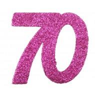 6 Confettis pailleté Anniversaire 70 ans