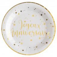10 Assiettes Joyeux Anniversaire métallisé