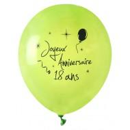 8 Ballons Joyeux Anniversaire 18 ans