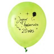 8 Ballons Joyeux Anniversaire 20 ans