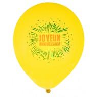 8 Ballons Anniversaire feu d'artifice