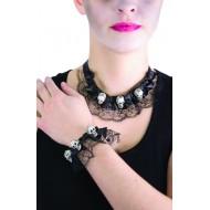 Bijoux tête de mort avec dentelle - Collier et bracelet