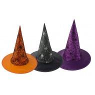 Chapeau sorcière adulte - tissu - 3 ass.