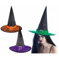 Chapeau sorcière adulte - tissu noir avec ruban coul. - 3 ass.