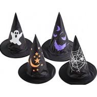 Chapeau sorcière enfant - tissu noir avec impression - 4 assortis