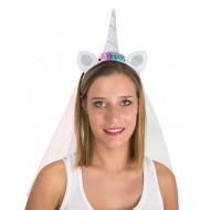 Serre-tête licorne blanc avec voilette arc-en-ciel