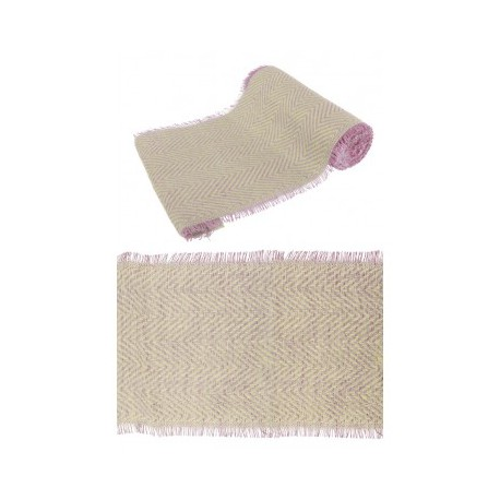 CHEMIN DE TABLE JUTE  NATUREL/ROSE