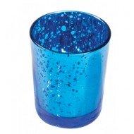 bougeoir bleu fonce metal