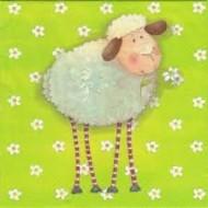 Serviette Mouton et Paquerettes