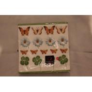 Serviette en Papier Fleurs/Papillons/Trèfles