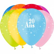 8 Ballons Latex Ages 20/25/30/40/70 ans