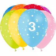 8 Ballons Latex Chiffre 3