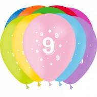 8 Ballons Latex Chiffre 9
