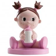 Figurine Petite Fille en Rose avec Biberon