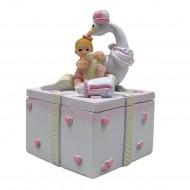 Boite Bébé Fille Avec Une Cigogne
