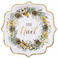 Assiette Guirlande Noël Or